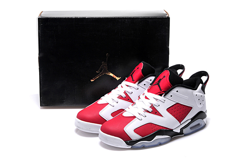 2015 Air Jordan 6 Low Carmine White Black Shoes For Women