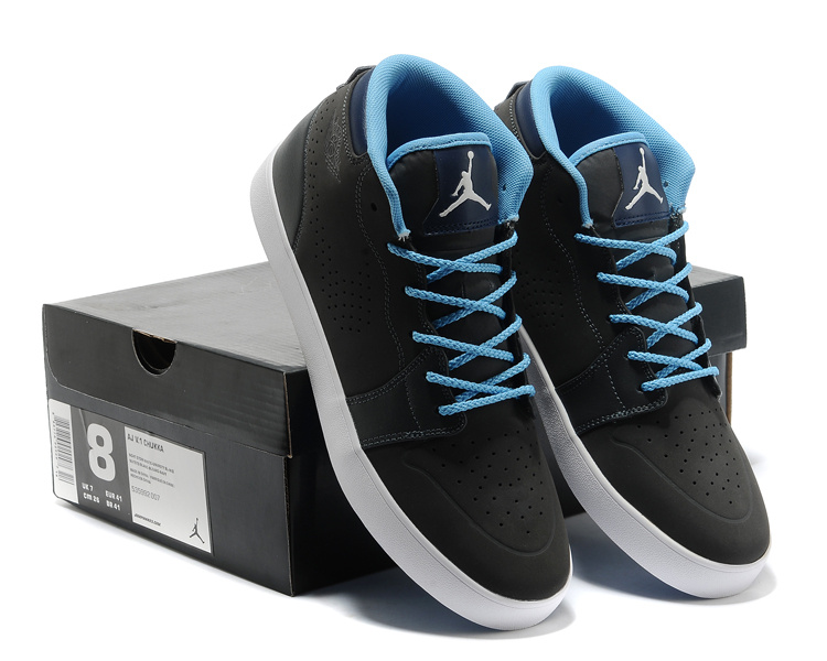 2015 Casual Jordan 1 Black Blue Shoes