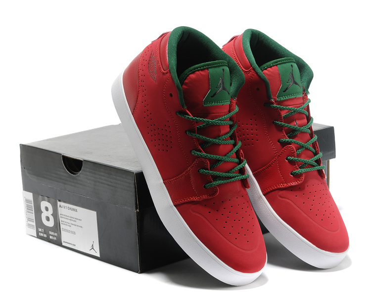 2015 Casual Jordan 1 Red Green Shoes