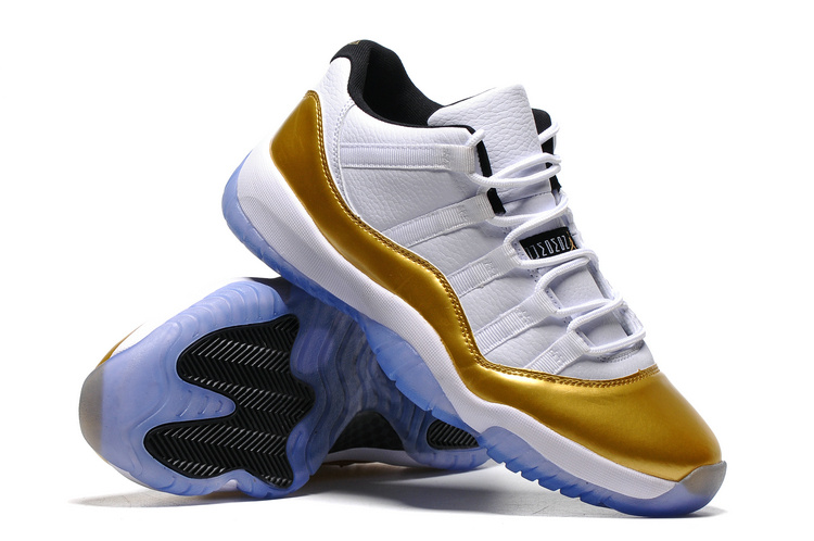 Classic Air Jordan 11 Olympic Gloden White Blue Basketball Shoes