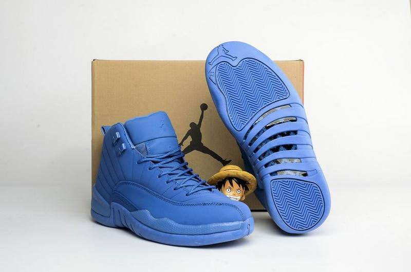Classic Air Jordan 12 Blue Suede Basketball Shoes