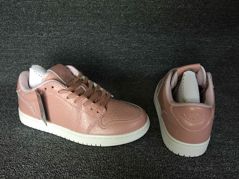 Classic Air Jordan 1 Low No Swoosh Women Pink White Shoes