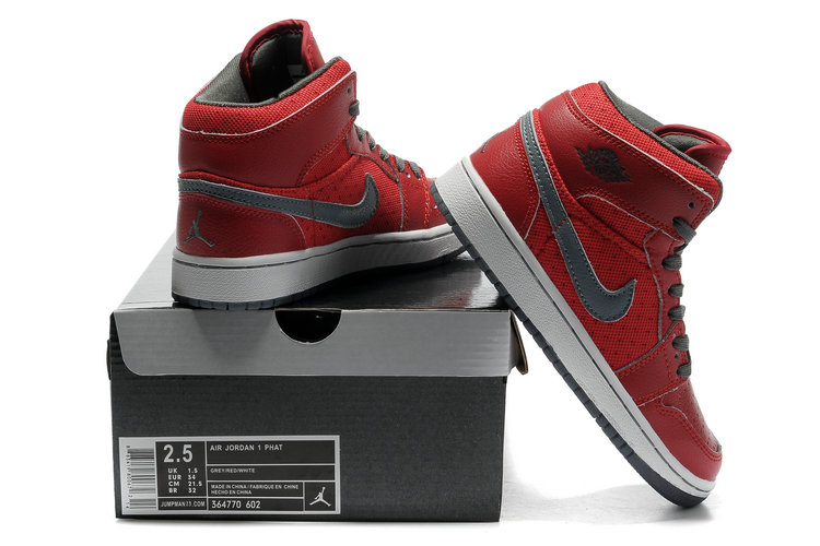 2012 Air Jordan 1 Transparent Durable Sole All Red Grey Shoes