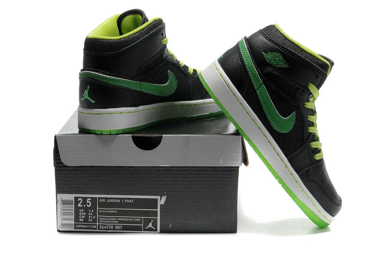 2012 Air Jordan 1 Transparent Durable Sole Black Green Shoes