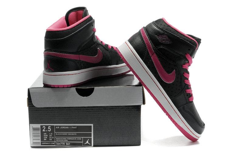 2012 Air Jordan 1 Transparent Durable Sole Black Pink Shoes