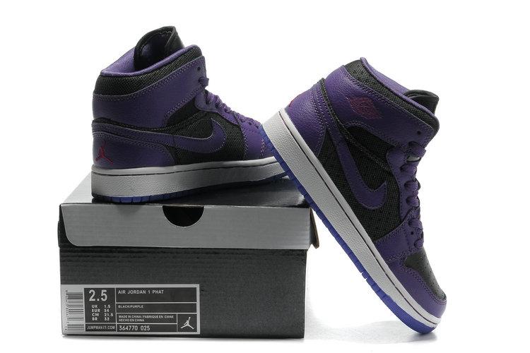 2012 Air Jordan 1 Transparent Durable Sole Black Purple Shoes