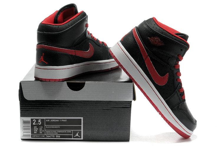 2012 Air Jordan 1 Transparent Durable Sole Black Red Shoes