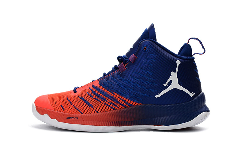 Classic Air Jordan Super Fly X 2016 Blue Reddish Orange White Shoes