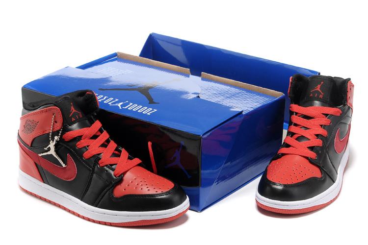Hardcover Air Jordan 1 Black Red White Shoes