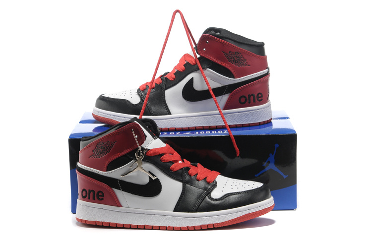 Hardcover Air Jordan 1 White Black Red Shoes