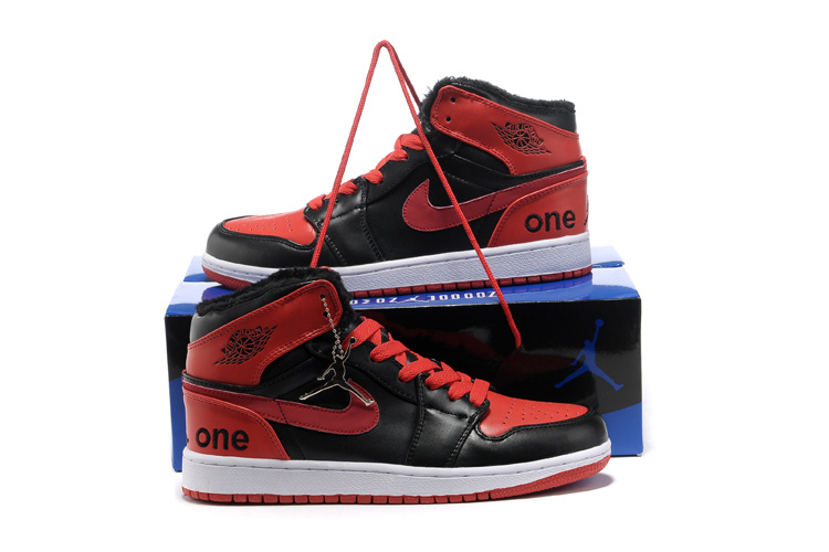 Hardcover Air Jordan 1 Wool Black Red White Shoes