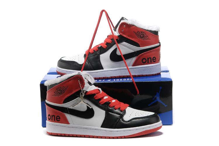 Hardcover Air Jordan 1 Wool White Black Red Shoes