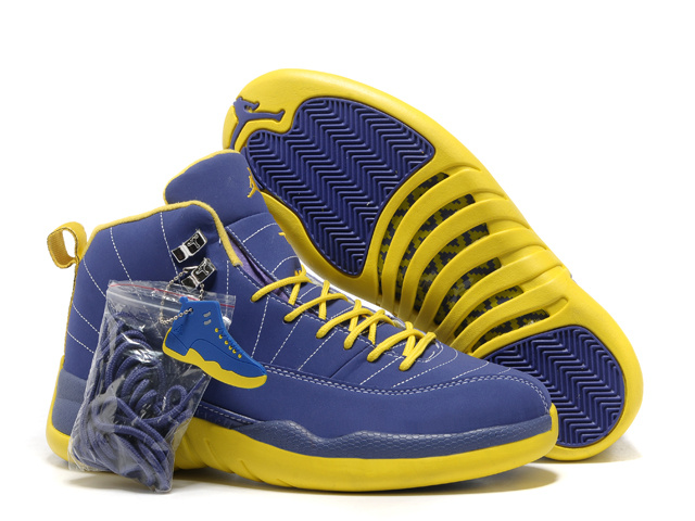 Hardcover Air Jordan 12 Blue Yellow Shoes