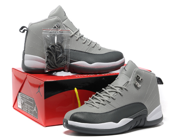 Hardcover Air Jordan 12 Grey Black White Shoes