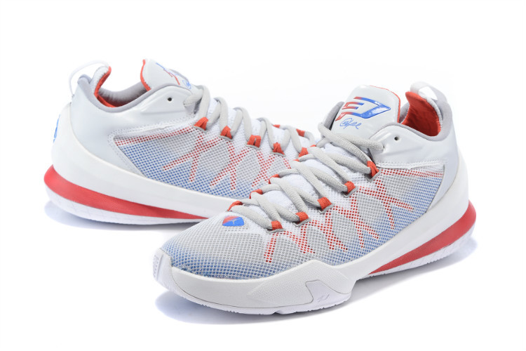 Jordan Chris Paul 8 Playoffs Shoes White Red Blue ...