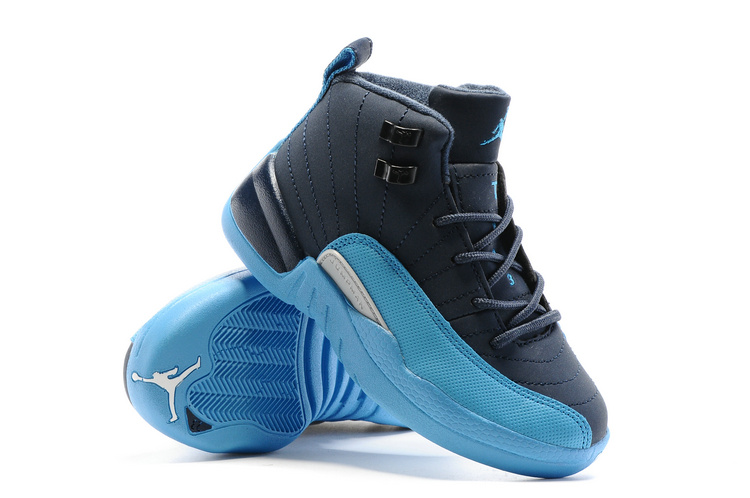 Kids Air Jordan 12 Blue Black Shoes