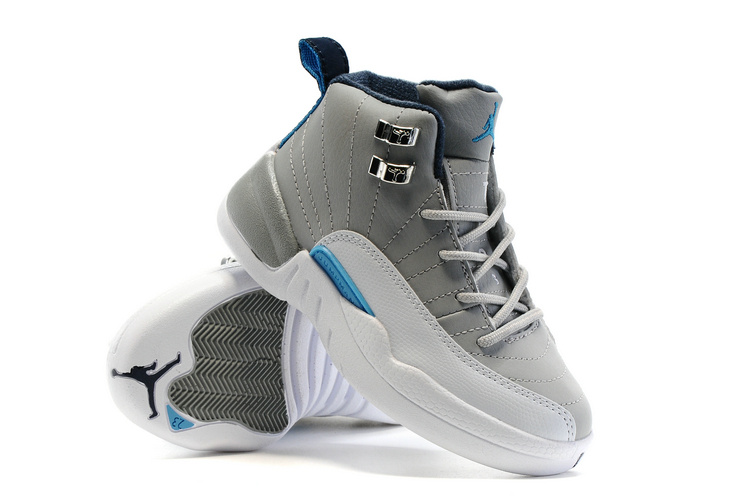 Kids Air Jordan 12 White Grey Shoes