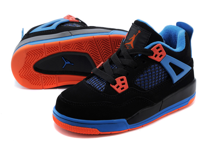 2015 Kids Air Jordan 4 Black Blue Orange