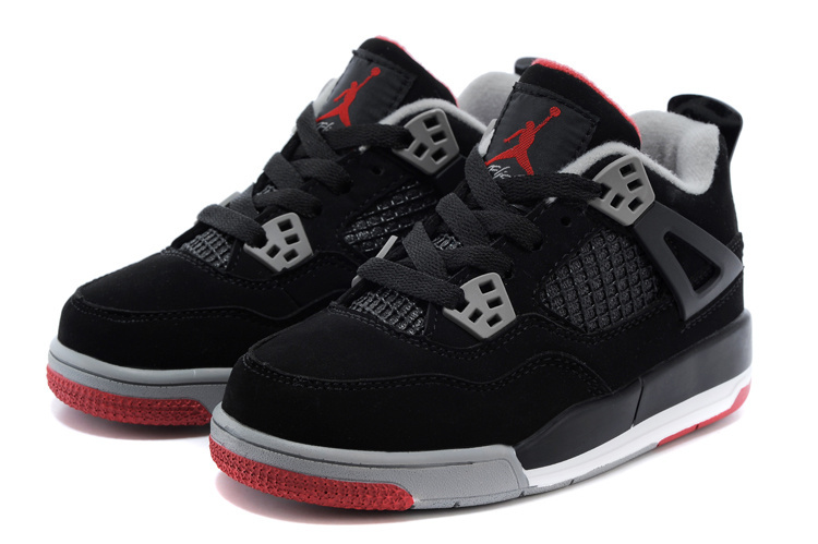 2015 Kids Air Jordan 4 Black Grey Red