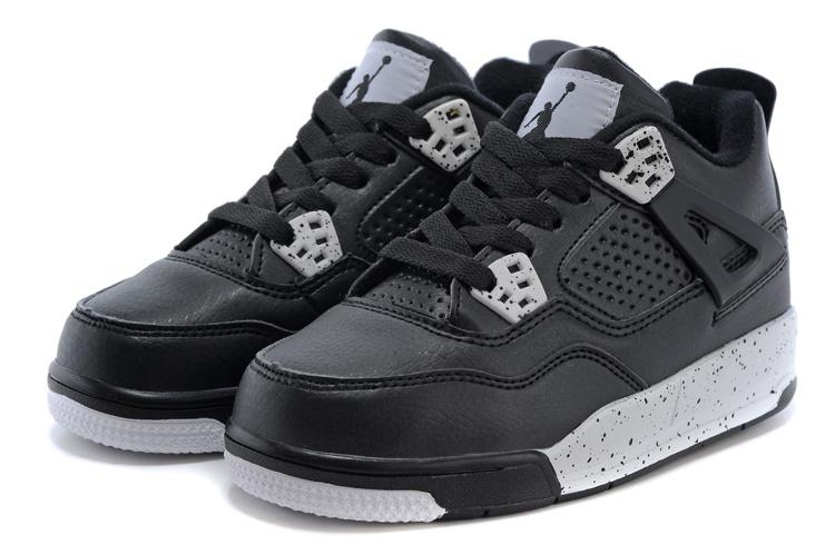 2015 Kids Air Jordan 4 Black Grey