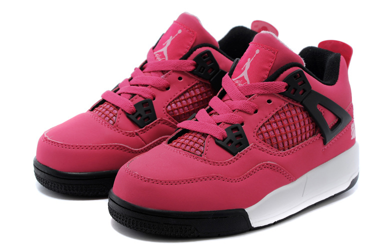 2015 Kids Air Jordan 4 Pink Black White