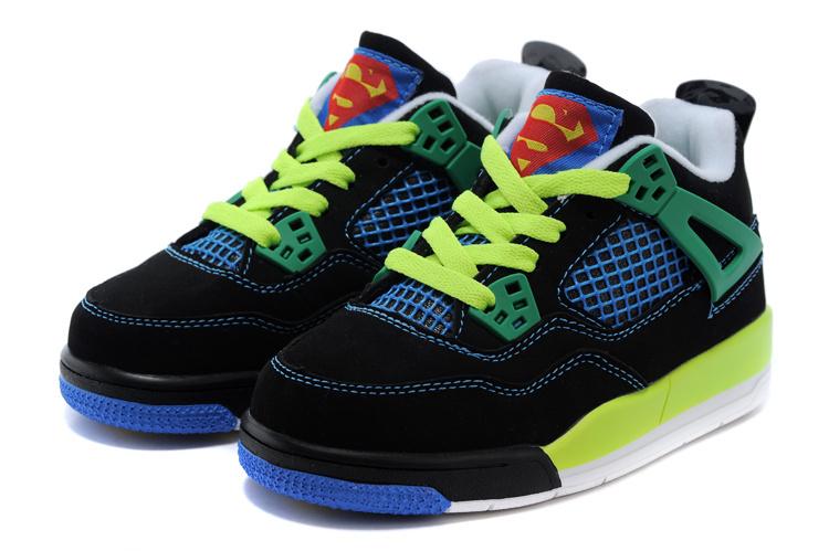 2015 Kids Jordan 4 Superman Black Fluorscent Green Blue