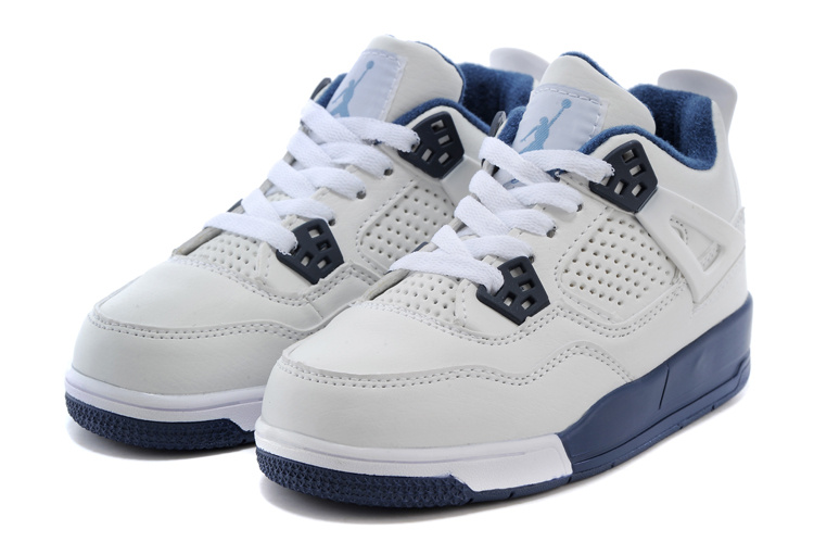 2015 Kids Jordan 4 White Blue