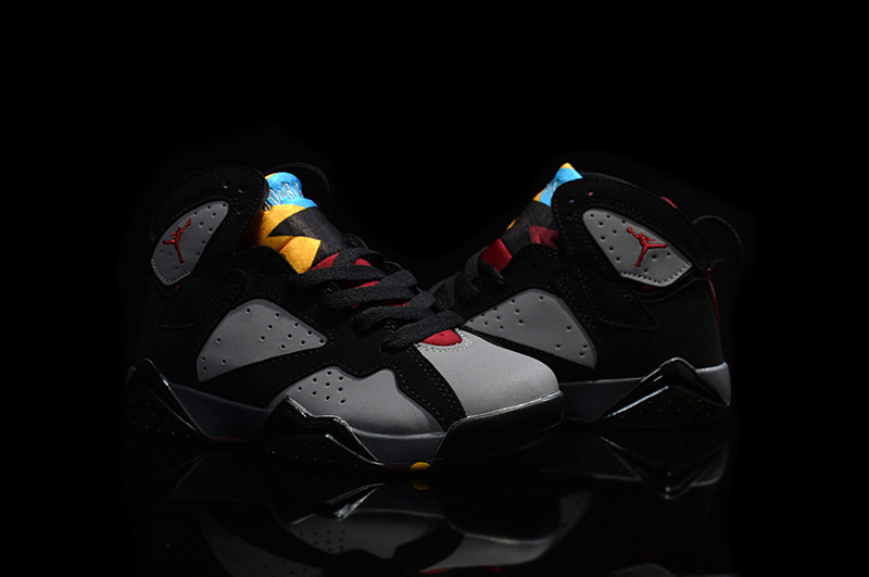 New Air Jordan 7 Retro Black Grey Red For Kids