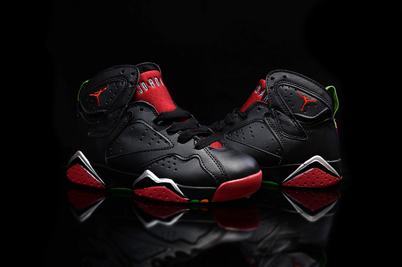 New Air Jordan 7 Retro Black Red For Kids