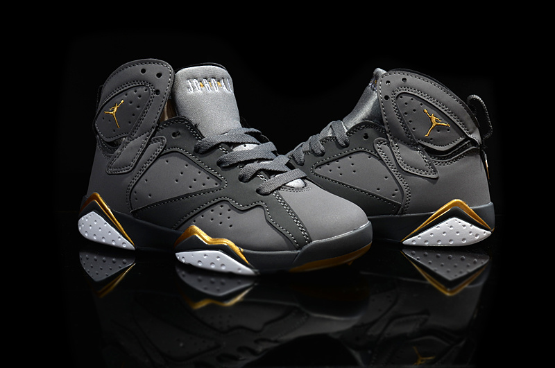 New Air Jordan 7 Retro Grey Gold For Kids