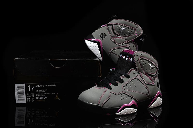 New Air Jordan 7 Retro Grey Purple Black For Kids