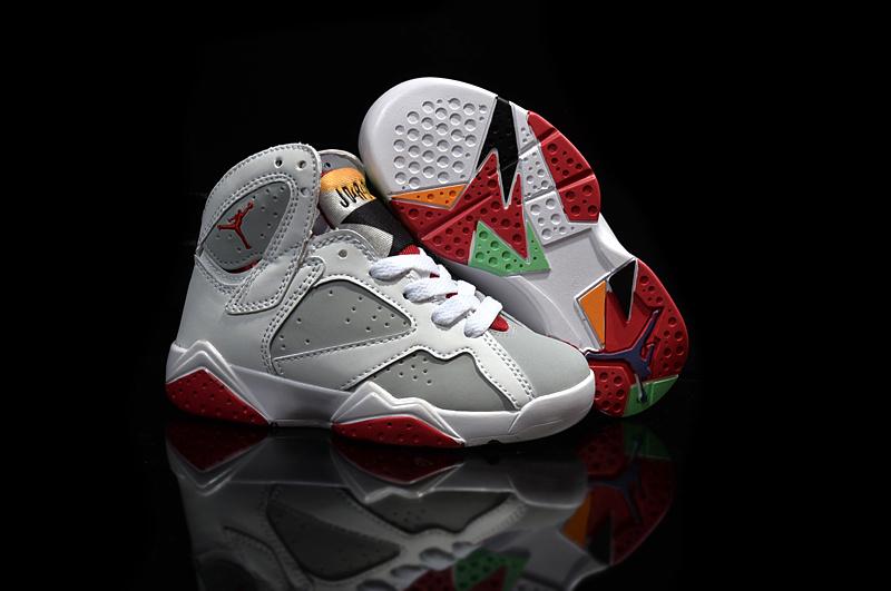 New Air Jordan 7 Retro White Grey Red For Kids