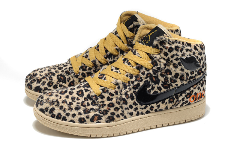 2013 Air Jordan 1 Leopard Leather Yellow Shoes