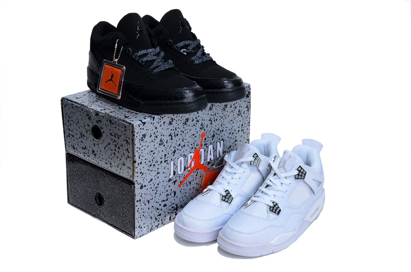 2013 Limited Combine Black Air Jordan 3 And White Jordan 4 Shoes