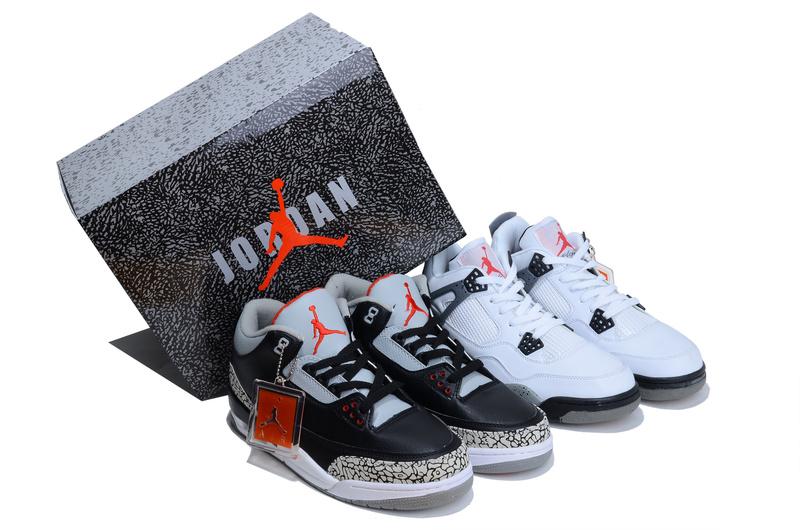 2013 Limited Combine Black Grey Air Jordan 3 And White Grey Jordan 4 Shoes