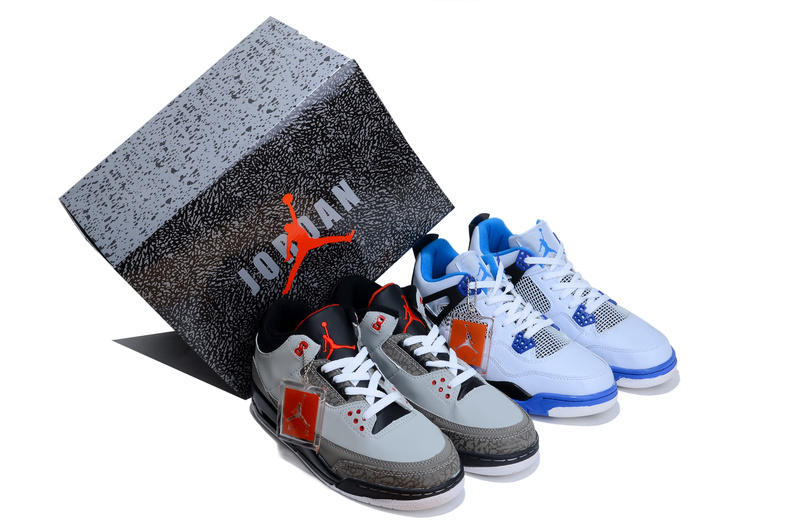 2013 Limited Combine Grey Black Air Jordan 3 And White Blue Jordan 4 Shoes