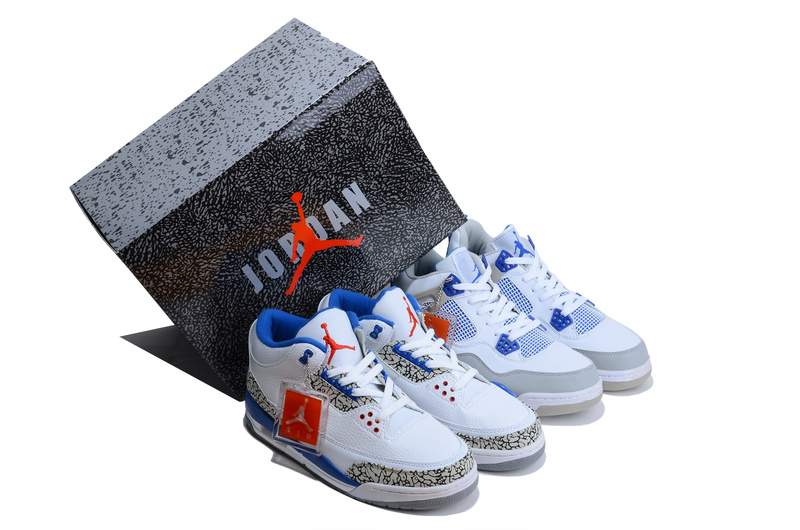 2013 Limited Combine White Blue Air Jordan 3&4 Shoes