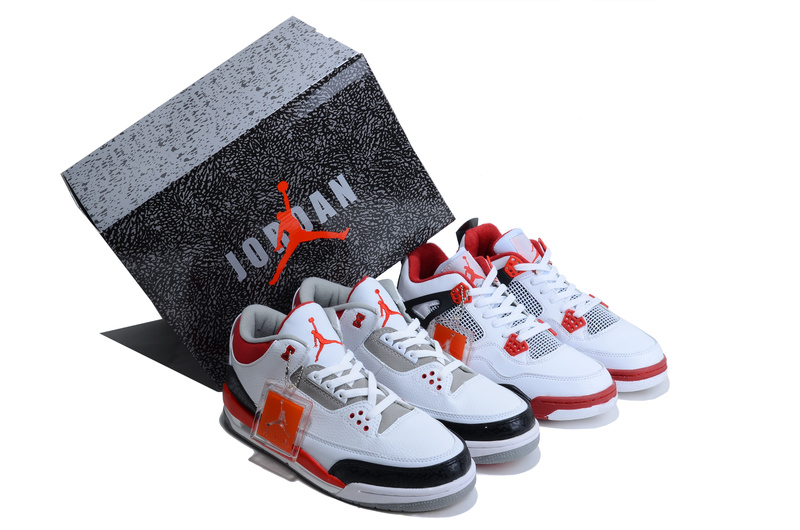 2013 Limited Combine White Red Air Jordan 3&4 Shoes
