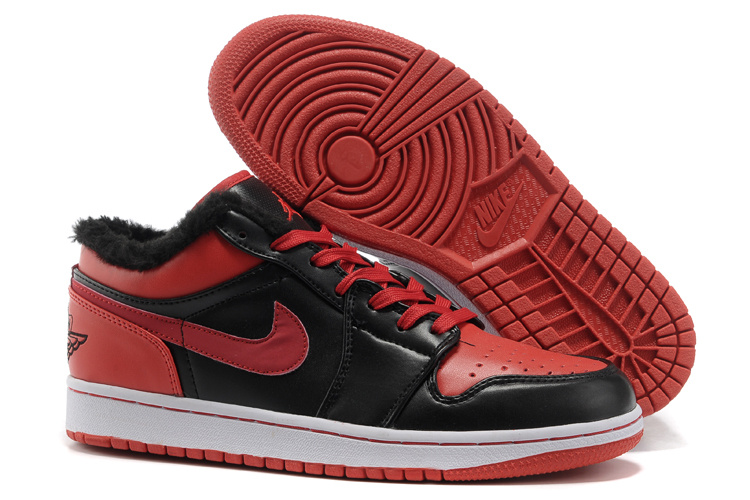 Comfortable Low Air Jordan 1 Wool Black Red White Shoes