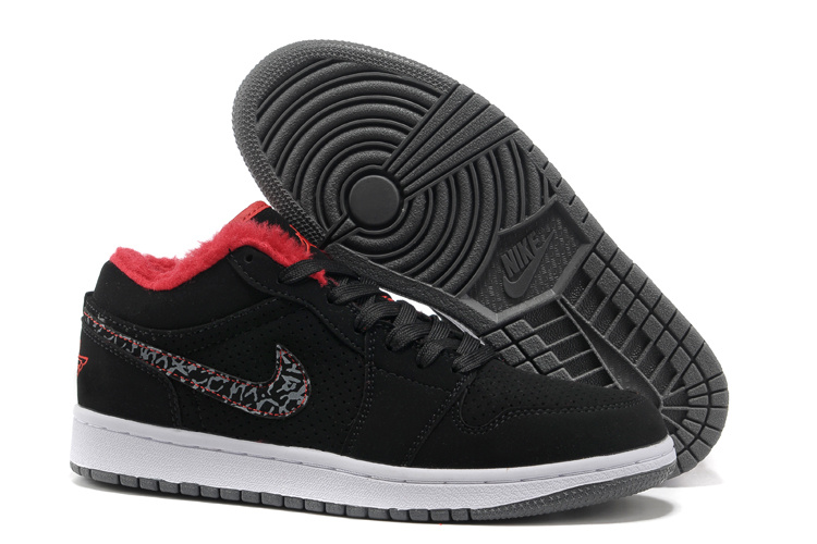 Comfortable Low Air Jordan 1 Wool Black White Grey Shoes