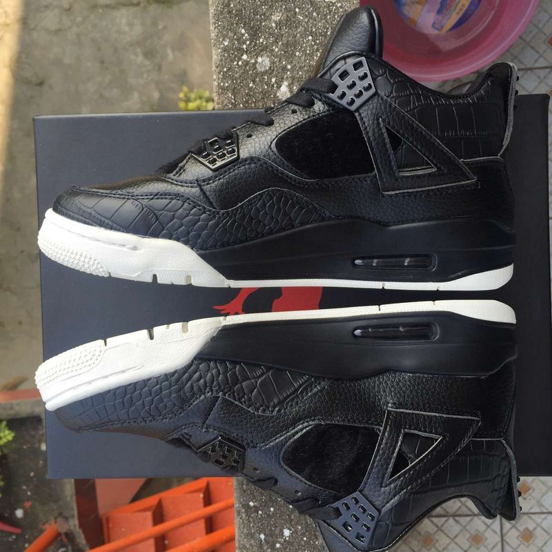 New Air Jordan 4 Black White Basketabll Shoes On Sale