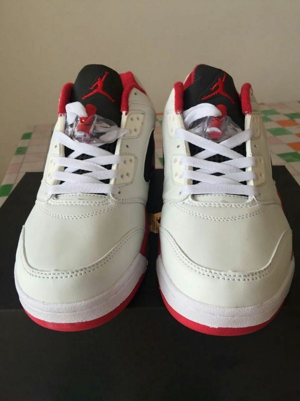 New Jordan 5 Low White Red Black Shoes On Sale