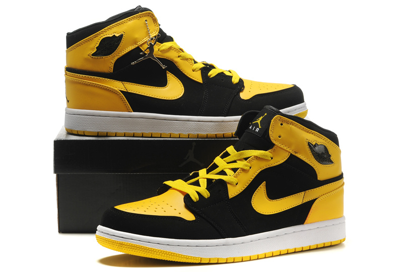 Popular Air Jordan Retro 1 Blac Yellow Shoes