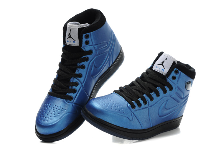 Popular Air Jordan Retro 1 High Heel Shoes Blue Black