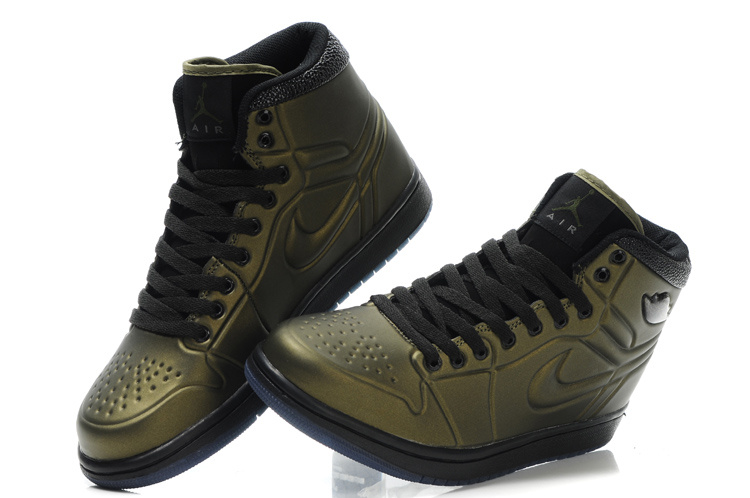 Popular Air Jordan Retro 1 High Heel Shoes Brown Black