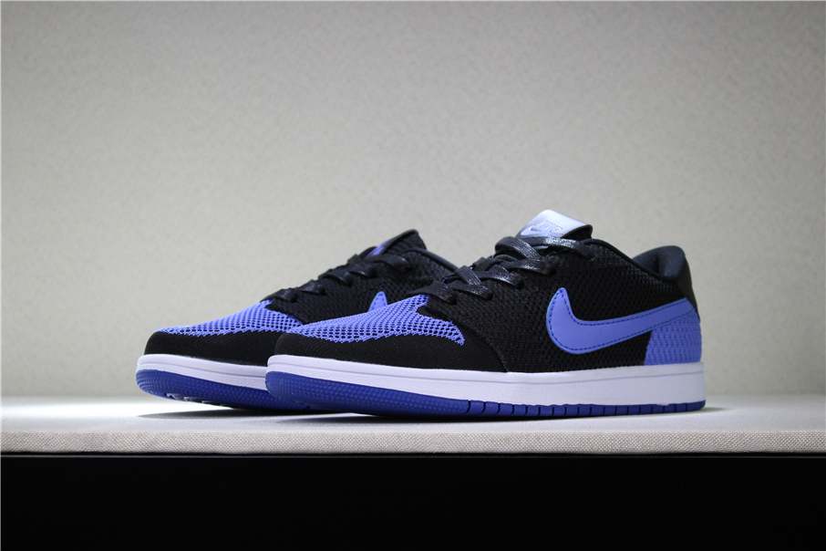 New Air Jordan 1 Low Flyknit Royal Black Game Royal White