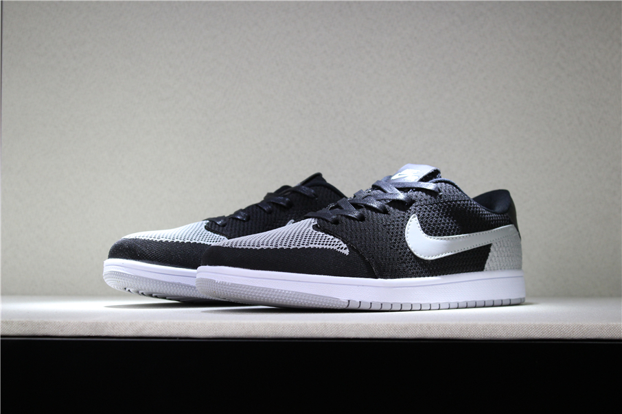 New Air Jordan 1 Low Flyknit Shadow Black Wolf Grey White