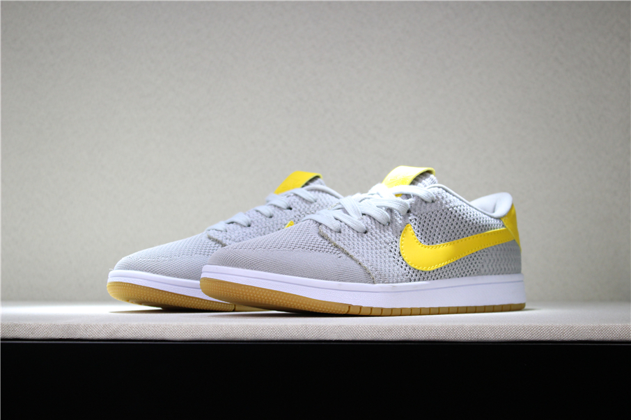 New Air Jordan 1 Low Flyknit Wolf Grey Yellow Gum