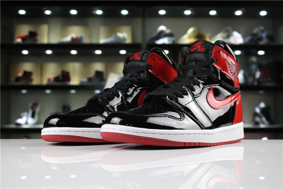 New Air Jordan 1 Patent Leather Banned Black White University Red