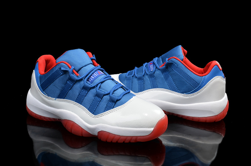 2015 Air Jordan 11 Low Blue White Red Shoes